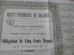 Action Obligation 500 Francs Au Porteur Hauts Fourneaux De Balaruc Les Bains Près Sète 1880 - Industrie