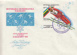 Enveloppe  FDC  1er  Jour   MADAGASCAR   Bloc  Feuillet   JEUX   OLYMPIQUES     CALGARY    1988 - Hiver 1988: Calgary
