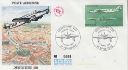Enveloppe  FDC  1er Jour    FRANCE     Avion   DEWOITINE  338     TOULOUSE    1987 - FDC
