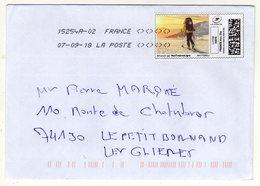 Enveloppe FRANCE Avec Vignette D' Affranchissement Lettre Verte Oblitération LA POSTE 15254A02 07/09/2018 - 2010-... Illustrated Franking Labels