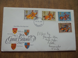 S054: FDC: GREAT BRITONS: Edward The Black Prince, Henry V, Owain Glyndwr, Robert The Bruce. 4.5p, 5.5p, 8p, 10p. 1974. - FDC