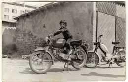 Macedonia - 1979 Photo - Child And Motorbike - Anonymous Persons