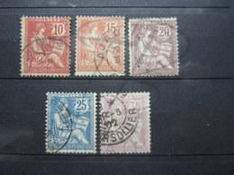 VEND TIMBRES DE FRANCE N° 124 - 128 !!! (c) - 1900-02 Mouchon