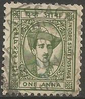 Indore (Holkar) - 1941 Maharaja Yeshwant  Rao II 1a Olive Used   SG 38  Sc 36 - Holkar