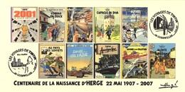 FRANCE 2007 N°104 Albums Fictifs + 2 Cachets Premier Jour FDC TINTIN KUIFJE TIM HERGE GUEBWILLER - Hergé