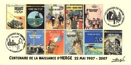 FRANCE 2007 N°105 Albums Fictifs + 2 Cachets Premier Jour FDC TINTIN KUIFJE TIM HERGE GUEBWILLER - Hergé