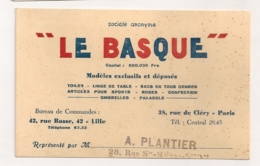 LE BASQUE / LILLE PARIS / TOILE LINGE SACS OMBRELLES PARASOLS B532 - Cartoncini Da Visita