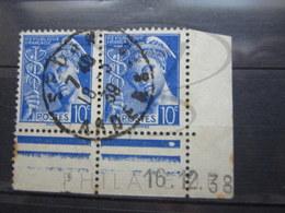 """VEND TIMBRES DE FRANCE N° 407 EN PAIRE +BDF + CD , CACHET """" SEDAN """" !!! - 1938-42 Mercure"""