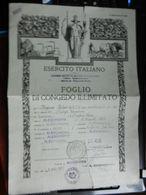 8a) ESERCITO ITALIANO FOGLIO CONGEDO DISTRETTO ALESSANDRIA FORMATO PIEGA CENTRALE E STRAPPO IN ALTO ED IN BASSO VEDI FOT - Militari