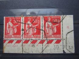 """VEND TIMBRES DE FRANCE N° 283 EN BANDE DE 3 +BDF + CD , CACHETS HEXAGONAUX """" JOUX """" !!! - 1932-39 Paix"""