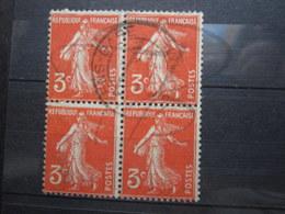 "VEND TIMBRES DE FRANCE N° 278A EN BLOC DE 4 , CACHET "" AMIENS-GARE "" !!! - 1906-38 Semeuse Camée"
