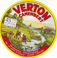 ETIQUETTE FROMAGE CAMEMBERT  -   VERTON -   Fab En PICARDIE  -  PAS-DE-CALAIS  62 - Fromage