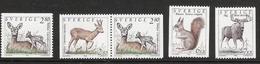 Sweden 1992 Animals, Roe Deer,  Ricke With Fawn, Red Squirrel, Moose, Mi  1700-1703   MNH(**) - Schweden