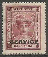 Indore (Holkar) - 1904 Official 1/2a MH *   SG S2  Sc O1 - Holkar