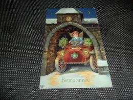 Ange  Angelot  Engel  - Carte Brillante -  Auto  Voiture - Anges