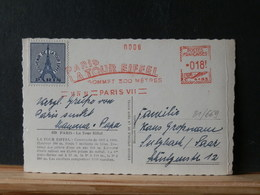 81/669 CP FRANCE   1954  FLAMME ROUGE LA TOUR EIFFEL + VIGNETTE - Postmark Collection (Covers)