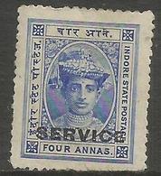 Indore (Holkar) - 1905 Official 4a Unused No Gum   SG S6  Sc O5 - Holkar