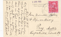 Lebanon-Liban Post/card Austrian Levant Beirut 1913, To Pargue-2nd ScanCairo,fine Condit-scarce-Red. Price-SKRILL ONLY - Lebanon