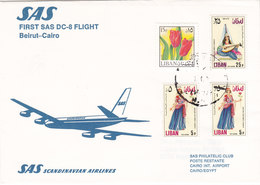 Lebanon-Liban 1st Flight Beirut/ CAIRO By SAS- Franked 4 V.verso Date- Fine Cond.Red.Price- SKRILL PAYMENT ONLY - Lebanon