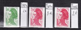 N° 2378a Et 2379a Et 2379b Type Sabine Du Peintre Louis David:  N° 600 130 Et 360 Rouge Au Dos: Timbres Neuf Impeccable - France