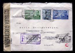 """20.03.1945 - Einschreibbrief Aus Madrid Nach Fürth - Spanische Zensur, Ankunftstempel Mai Und """"Zurück An Den Absender"""" - Zone Anglo-Américaine"""