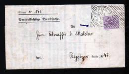 """1885 - Hoster-Stempel """"Berlin V 2"""" - Dienstbrief Mit 5 Pf. Frankatur - Briefe U. Dokumente"""