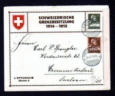 """13 C. Privat Ganzsache """"Grenzbesetzung"""" - Gebraucht 1915 Ab Inner Arosa Nach Sachsen - Zensur - Suisse"""