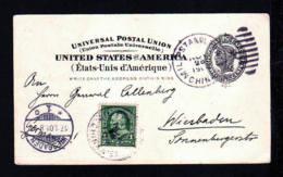 1901 - USA-Ganzsache Mit Zufrankatur Aus TIENTSIN Mit Aufgabestempel Der US-Post - Nach Wiesbaden - Chine