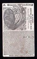 """1886 - 1 C. Ganzsache Mit Werbung Und Abbildung """"Taschenuhr Mit Dampflok Auf Deckel"""" - Gebraucht Ab New York - 1847-99 Emissions Générales"""