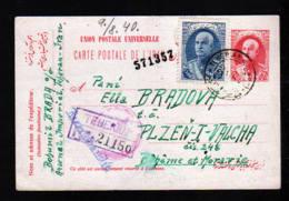 1940 - 90 D. Ganzsache Mit Zufrankatur Als Einschreiben Ab Teheran Nach Böhmen U. M. - Zensur - Iran