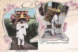MEXIQUE . 2 Vues : Pottery Vender / Hauling Produce To Market - Mexique