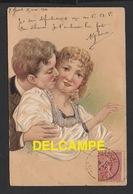 DD / COUPLES / LE BAISER / DESSIN D' ILLUSTRATEUR / CARTE GAUFRÉE / CIRCULÉE EN 1904 - Couples