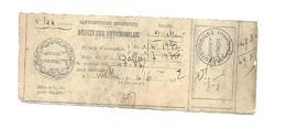 TIMBRES FISCAUX....RARE..VIGNETTE De CONTROLE AUTOMOBILES De 1932, Attenant à La Quittance - Steuermarken