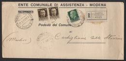 ITALY ITALIA ITALIEN 1941. Postal History Envelope Use By The Municipality MODENA FERROVIA CASTIGLIONE STIVIERE - Italy