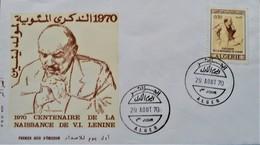 CENTENAIRE DE LA NAISSANCE DE LENINE 1970 - ENVELOPPE 1 ER JOUR - YT 523 - MI 557 - Argelia (1962-...)