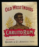 """Ancienne Etiquette Rhum Carlito Rum Old West Indies  Quien & Cie Bordeaux  """"visage Homme"""" étiquette Vernie - Rhum"""