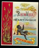 """Ancienne Etiquette Rhum Vieux De La Martinique  Importation Directe """"enfant Verre à La Main"""" étiquette Vernie  Imp Wette - Rhum"""