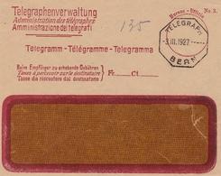 Suisse Telegramm Bern Berne 1927 Télégramme Telegramma Telegraphenver Waltung Schweiz Switzerland - Telegraafzegels