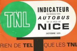 Nice, Rare Indicateur Réseau Des Autobus TNL 1972 - Europe