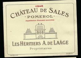 Etiquette Vin Chateau   De Sales Pomerol  1946  Les Héritiers A De Laage Propriètaires - Bordeaux