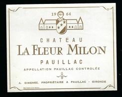 Etiquette Vin Chateau   La Fleur Melon Pauillac 1964  A Gimenez Propriétaire - Bordeaux