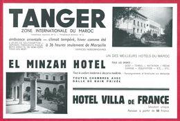 Hôtel El Minzah Et Hôtel Villa De France. Tanger. Maroc. 1930. - Publicités
