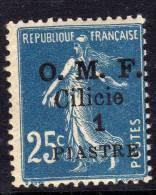 Cilicie N° 92  X  1 Pi.  Sur  25 C. Bleu ,  Trace De  Charnière Sinon TB - Cilicia (1919-1921)