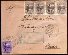 Girostamps54 - BONITA CARTA CON CENSURA MILITAR DE AGRUPACIÓN MIXTA DE LAS FUERZAS DE GUINEA A CÁDIZ - 1931-Hoy: 2ª República - ... Juan Carlos I