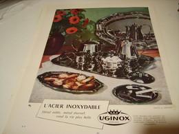 ANCIENNE PUBLICITE ACIER INOXYDABLE UGINOX 1954 - Cars
