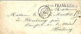 """1851- Cover From Paris To Hambourg With -  A U  U E B  FRANKREICH   """" Aux Und Ueber ..... """" - Deutschland"""