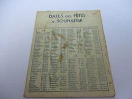Calendrier De Poche à 2 Volets/Pharmacie/Pilule DUPUIS/  Dates Des Fêtes à Souhaiter/ Vers  1950               CAL423 - Calendriers