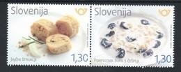 3333 Slowenien Slovenia 2018  ** MNH Gastronomie Gastronomy Food Egg štruklji Milk Soup With Pasta Strips And Plums - Ernährung