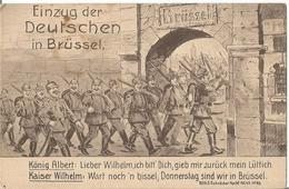 CPA Allemande WW I , Entrée Des Prussiens à Bruxelles . BELGIQUE 1914 . - Guerra 1914-18