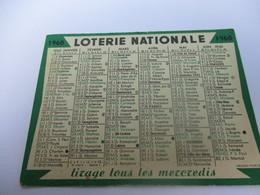 Calendrier De Poche à 1 Volet/LOTERIE NATIONALE/Tirage Tous Les Mercredis/Les Jours De Tirages Sont Imprimé /1960 CAL430 - Calendriers